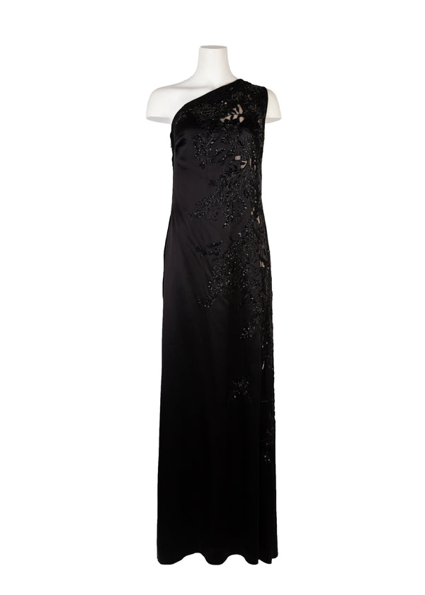 Roberto Cavalli Womens Black Satin Embroidered One Shoulder Gown - Tribeca Fashion House