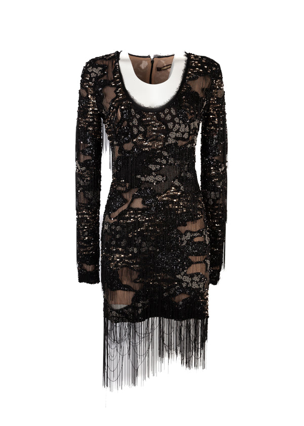 Roberto Cavalli Womens Black Beaded Embroidered Dress - Tribeca Fashion House