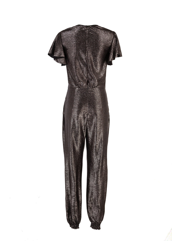 Roberto Cavalli Womens Silver Lamé Jumpsuit - Tribeca Fashion House