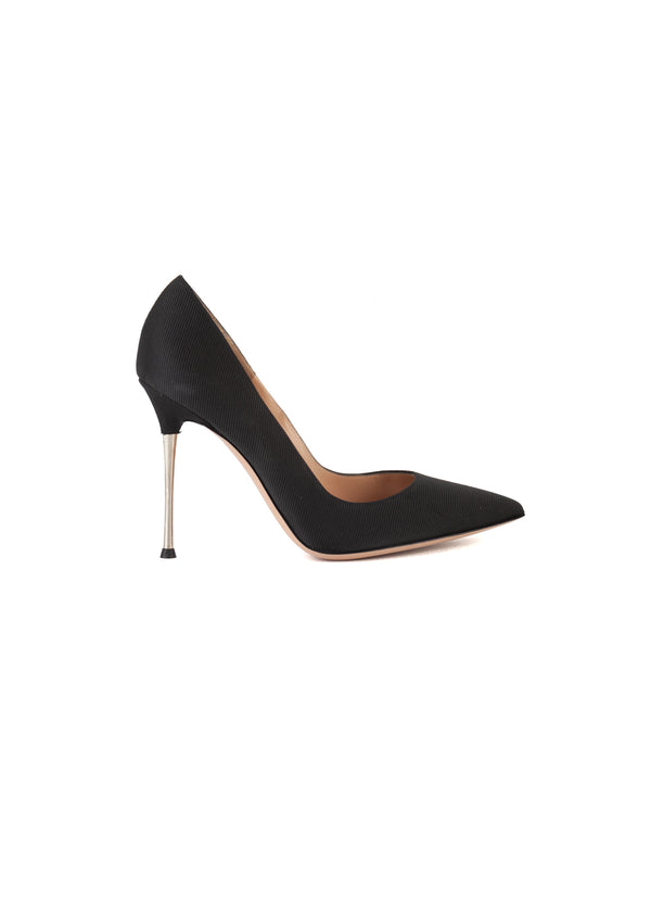 Gianvito Rossi Womens 105 Black Twill Metal Heeled Pumps - ACCESSX