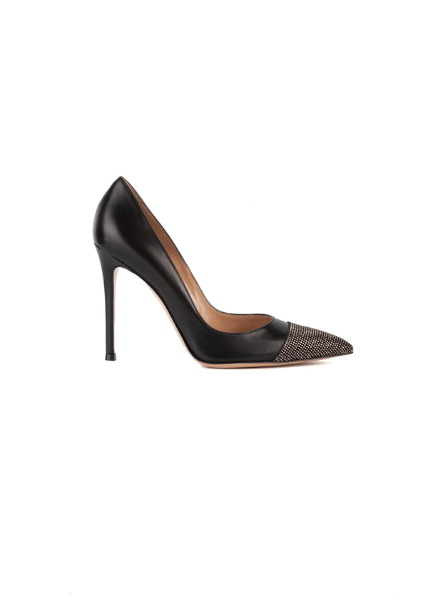 Gianvito Rossi Womens 105 Black Embellished Pumps - ACCESSX