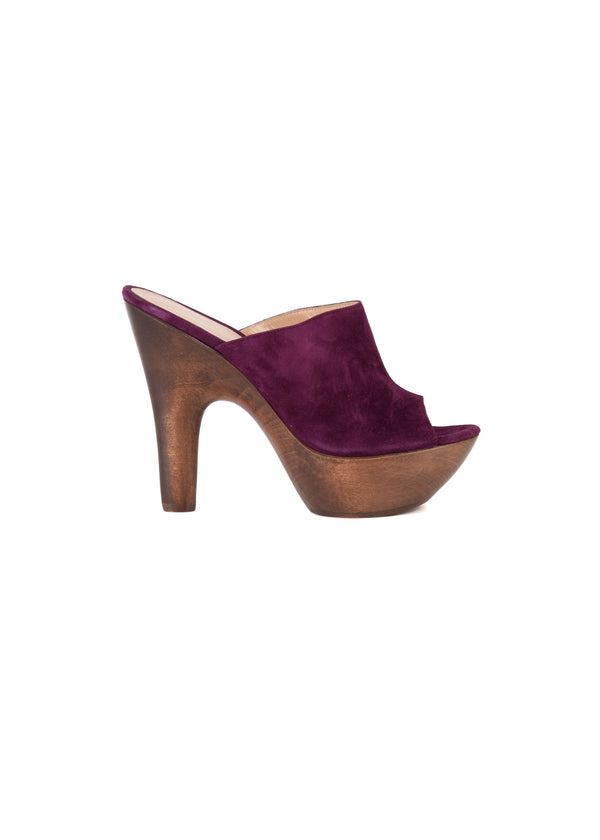 Gianvito Rossi Womens 125 Purple Platform Mules - Tribeca Fashion House