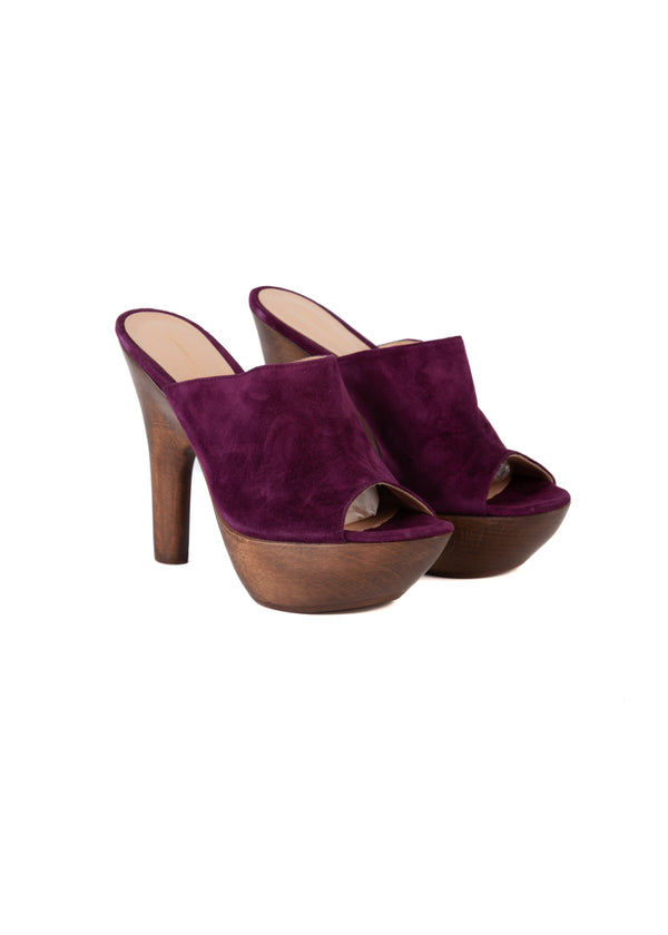 Gianvito Rossi Womens 125 Purple Platform Mules