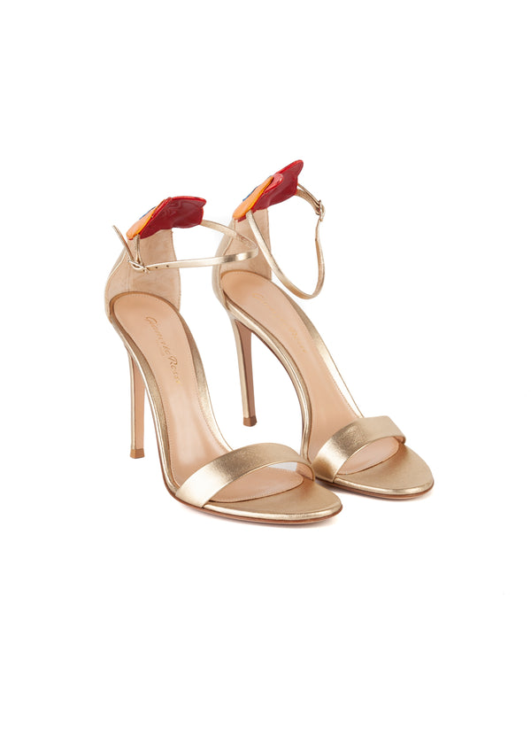 Gianvito Rossi Womens 105 Gold Orchid Patch Sandals - Tribeca Fashion House