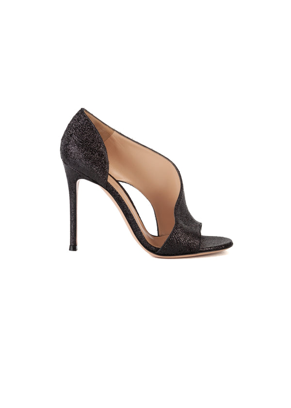 Gianvito Rossi Womens 105 Black Asymmetric Vamp Sandals