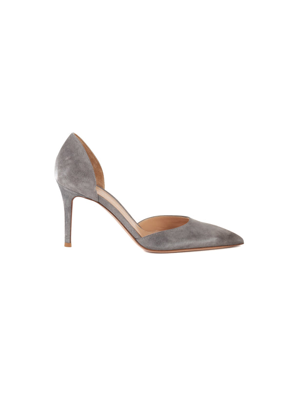 Gianvito Rossi Womens 85 Grey Suede Pumps