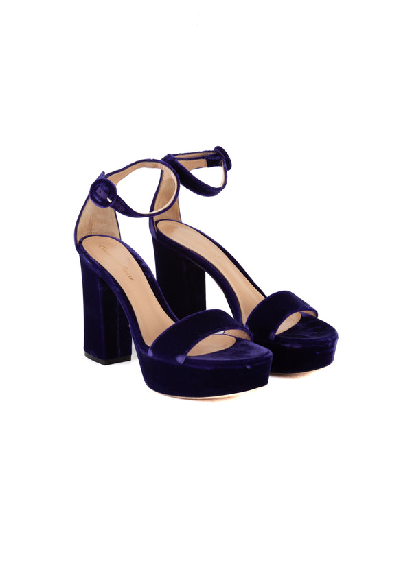 Gianvito Rossi Womens 105 Purple Velvet Platform Portofino Sandals - Tribeca Fashion House