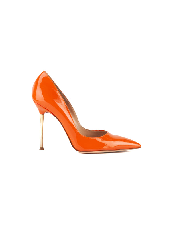 Gianvito Rossi Womens 105 Orange Patent Leather Metal Heeled Pumps - ACCESSX