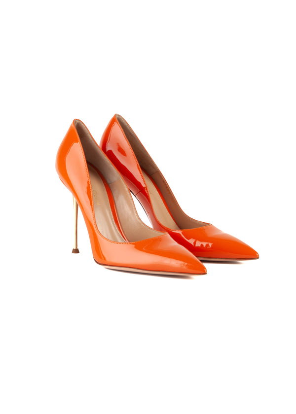 Gianvito Rossi Womens 105 Orange Patent Leather Metal Heeled Pumps