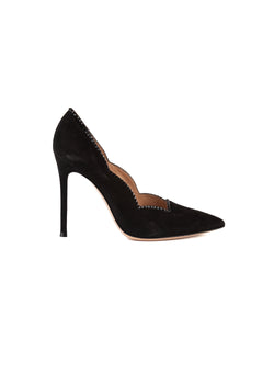 Gianvito Rossi Womens 105 Black Velvet Scalloped Pumps - ACCESSX
