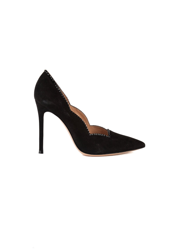 Gianvito Rossi Womens 105 Black Velvet Scalloped Pumps