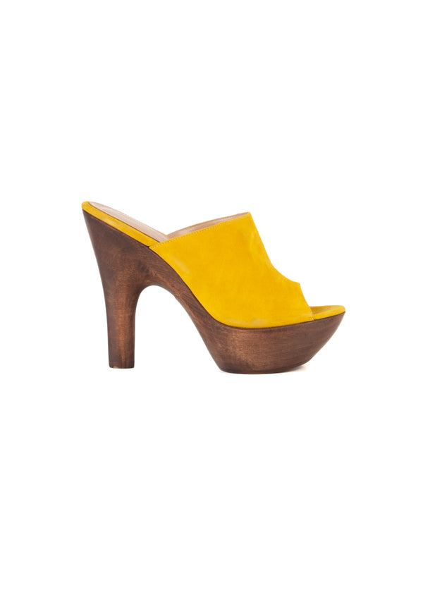 Gianvito Rossi Womens 125 Yellow Platform Mules - Tribeca Fashion House