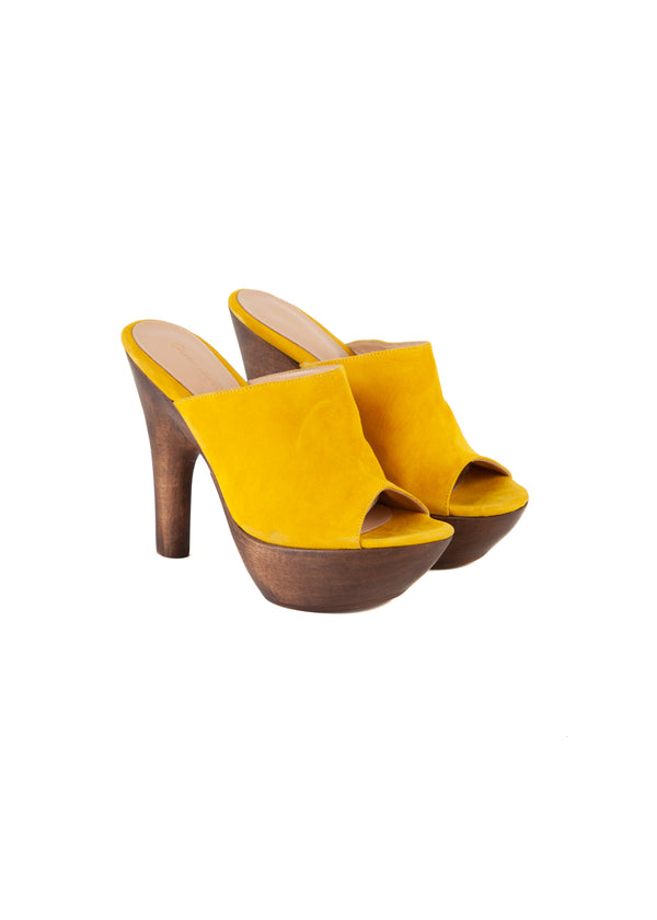 Gianvito Rossi Womens 125 Yellow Platform Mules