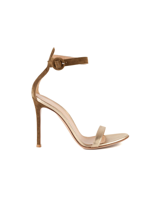 Gianvito Rossi Womens 105 Olive Suede & Gold Leather Portofino Sandals - Tribeca Fashion House