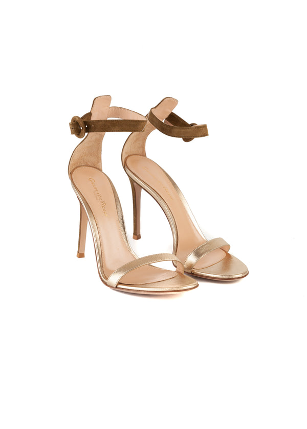 Gianvito Rossi Womens 105 Olive Suede & Gold Leather Portofino Sandals - ACCESSX