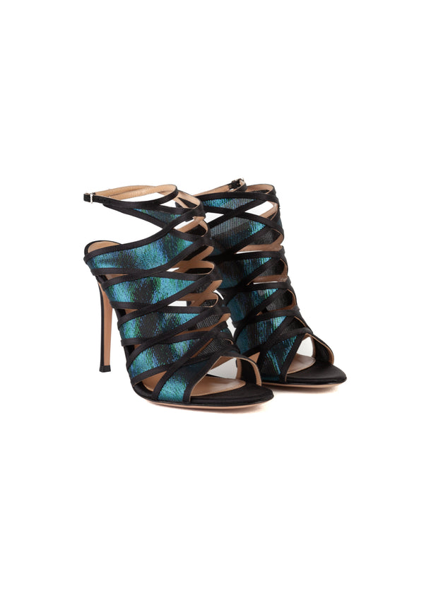Gianvito Rossi Womens 105 Black Satin & Blue Iridescent Sandals