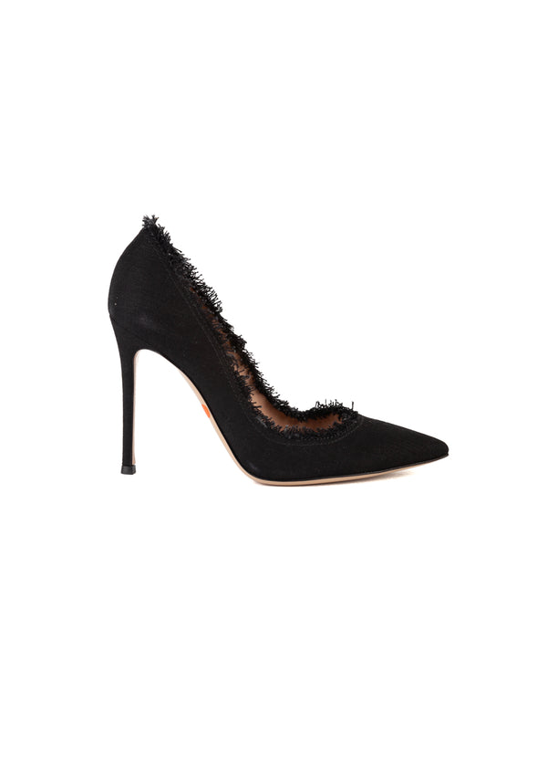 Gianvito Rossi Womens 105 Black Fringe Pumps - ACCESSX