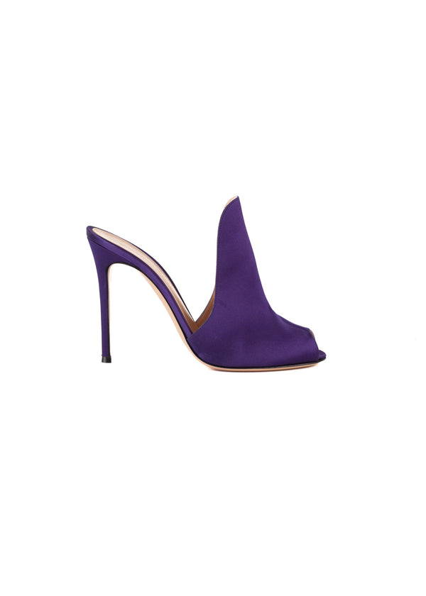 Gianvito Rossi Womens 105 Purple Satin Mule Loafers