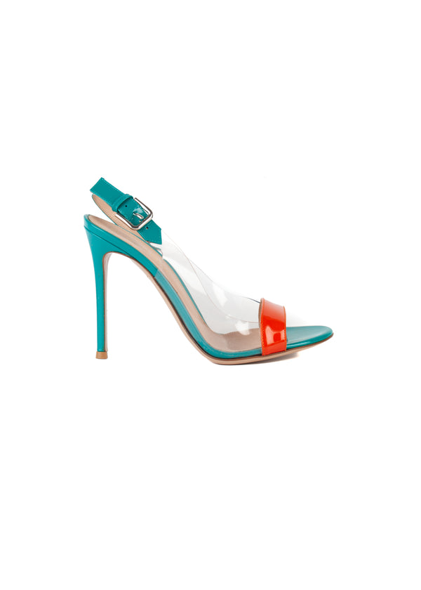 Gianvito Rossi Womens 110 Teal & Orange PVC Patent Leather Sandals