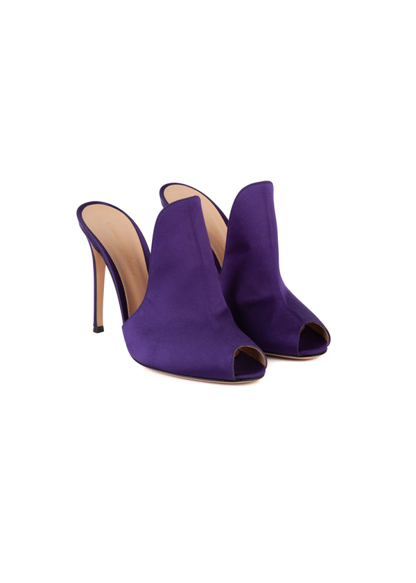 Gianvito Rossi Womens 105 Purple Satin Mule Loafers - ACCESSX