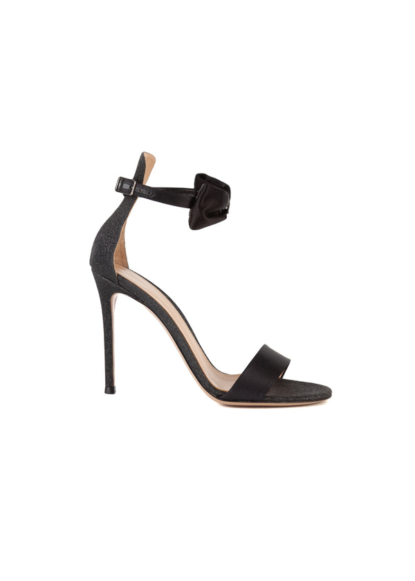 Gianvito Rossi Womens 105 Black Glitter Portofino Sandals