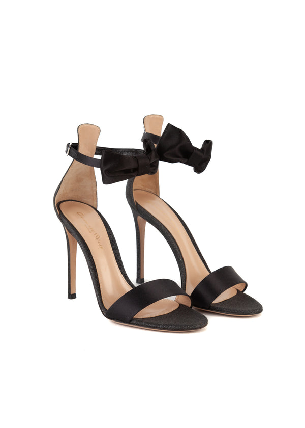 Gianvito Rossi Womens 105 Black Glitter Portofino Sandals - Tribeca Fashion House