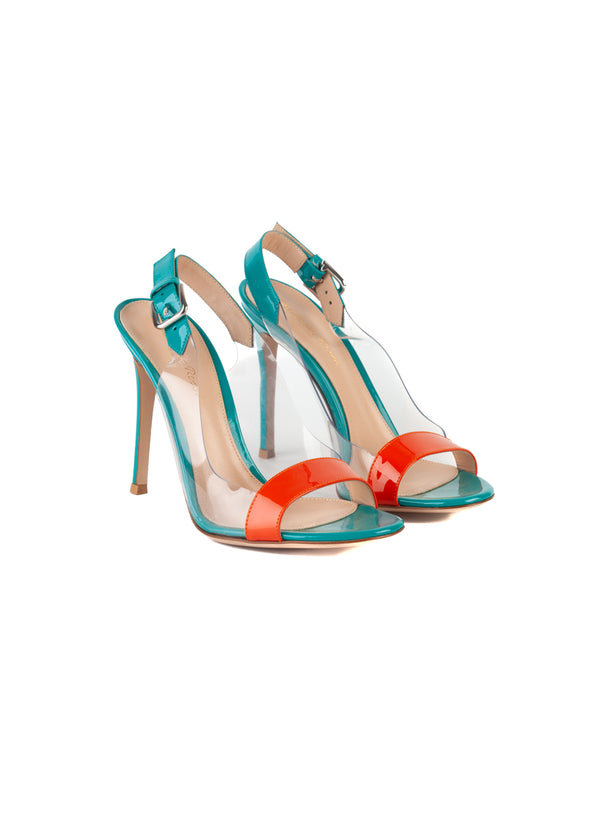 Gianvito Rossi Womens 110 Teal & Orange PVC Patent Leather Sandals - Tribeca Fashion House