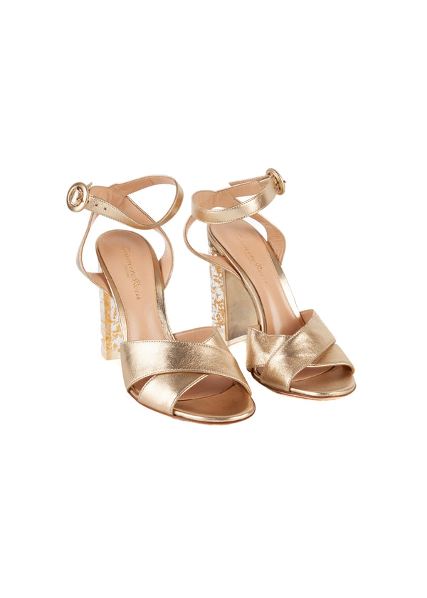 Gianvito Rossi Womens 110 Gold PVC Sandals - Tribeca Fashion House