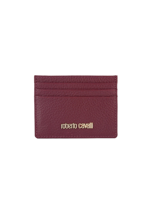 Roberto Cavalli Womens Burgundy Leather Cardholder - Tribeca Fashion House