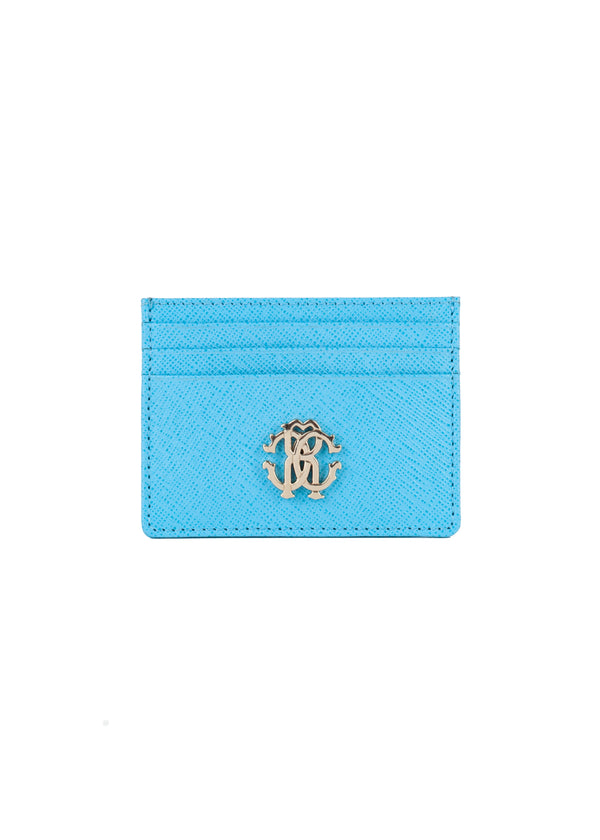 Roberto Cavalli Womens Light Blue Leather Cardholder - Tribeca Fashion House