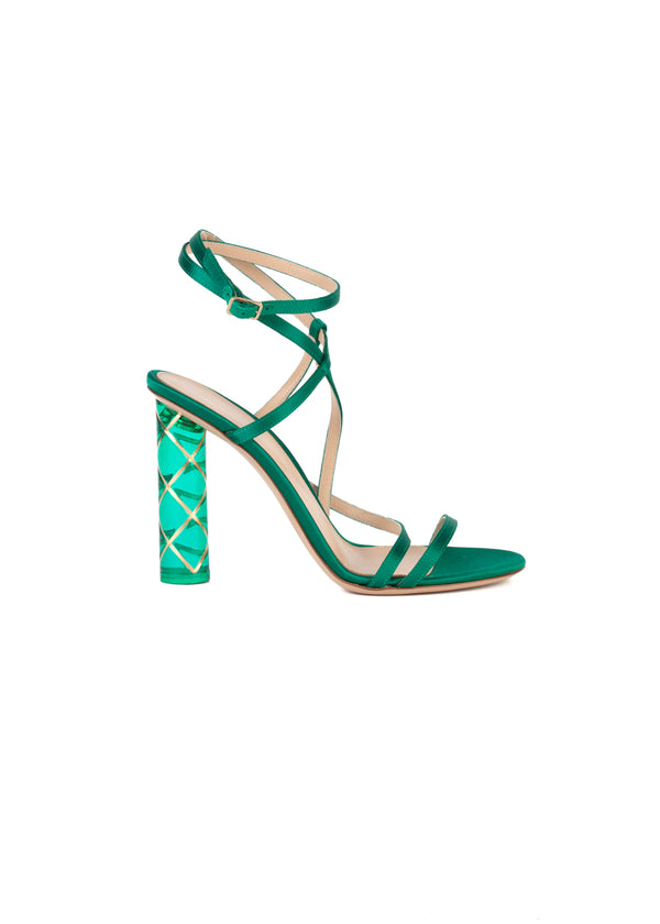 Gianvito Rossi Womens 110 Emerald Strappy PVC Sandals - Tribeca Fashion House