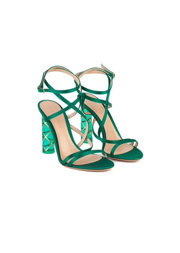 Gianvito Rossi Womens 110 Emerald Strappy PVC Sandals