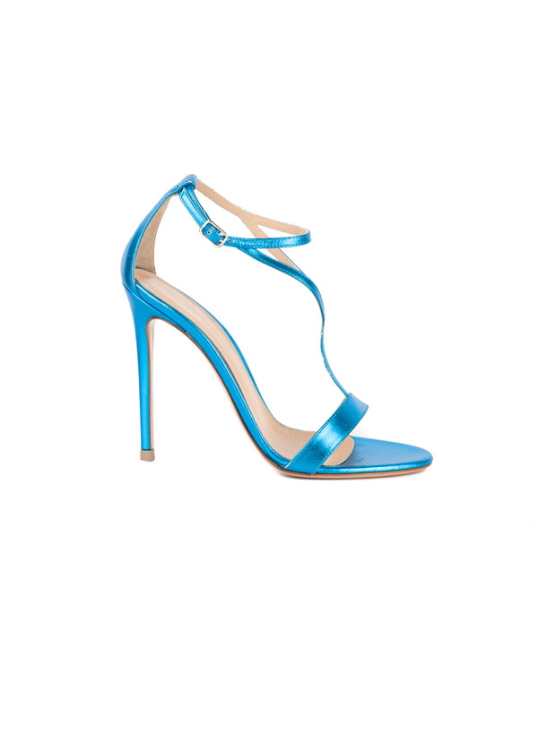 Gianvito Rossi Womens 110 Metallic Blue Sandals - ACCESSX