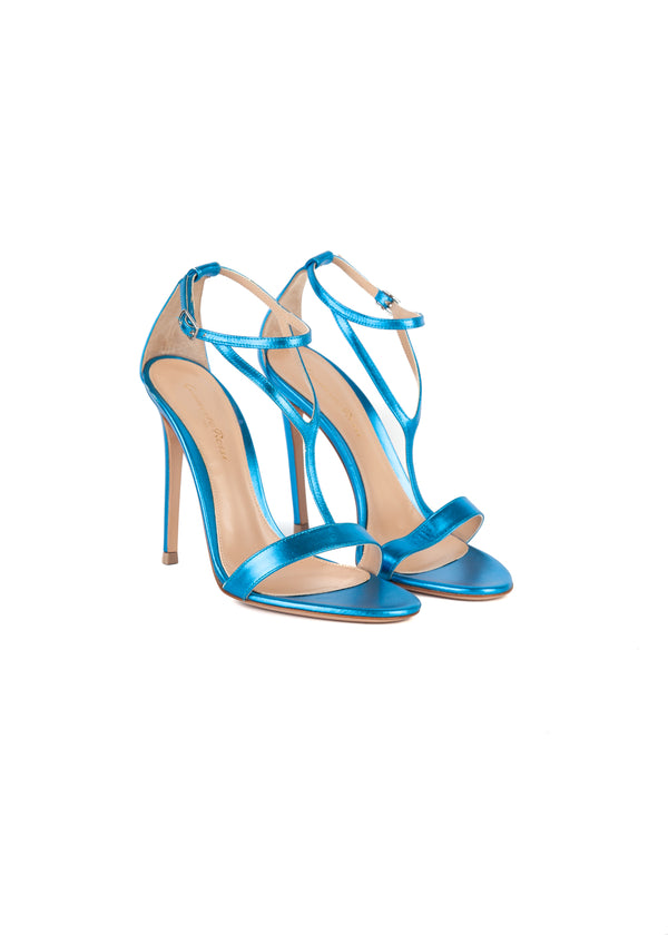 Gianvito Rossi Womens 110 Metallic Blue Sandals - Tribeca Fashion House