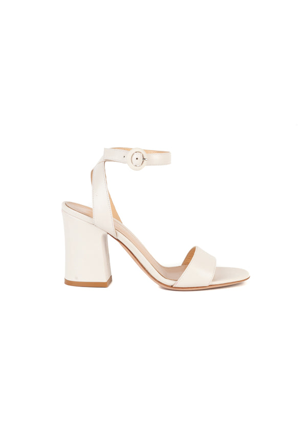Gianvito Rossi Womens 85 White Leather Sandals - ACCESSX