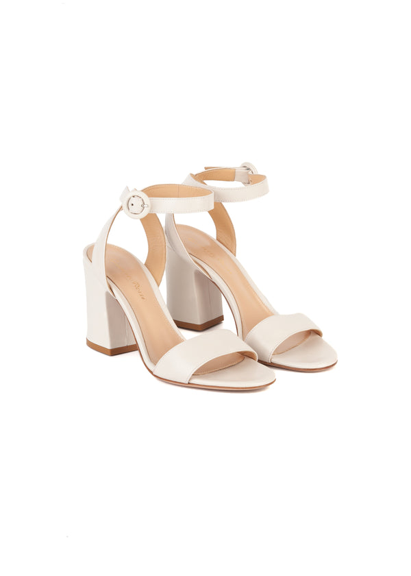 Gianvito Rossi Womens 85 White Leather Sandals - Tribeca Fashion House