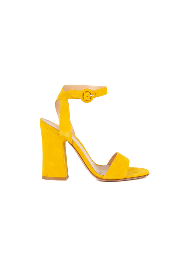 Gianvito Rossi Womens 110 Yellow Suede Sandals - Tribeca Fashion House
