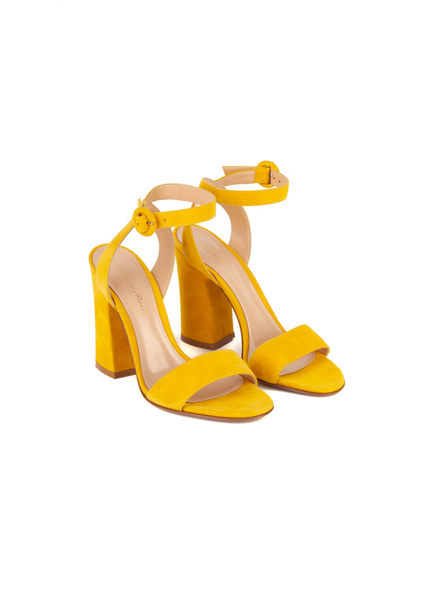 Gianvito Rossi Womens 110 Yellow Suede Sandals - ACCESSX
