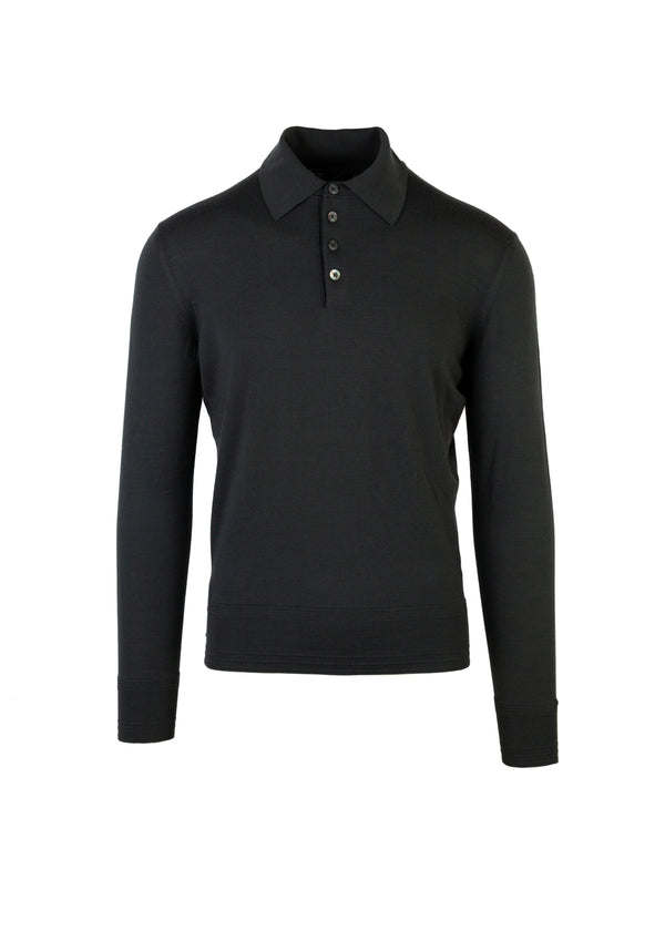 Tom Ford Mens Green Merino Wool Polo - ACCESSX