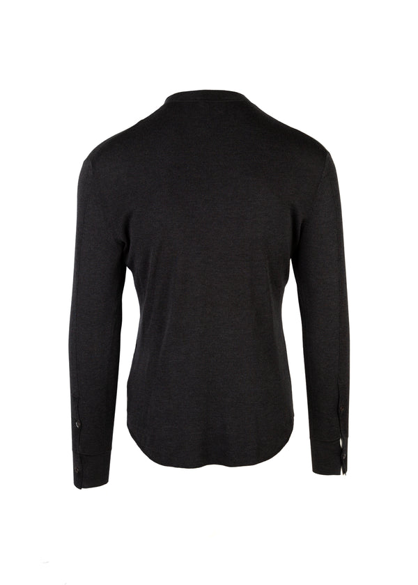 Tom Ford Mens Grey Knitted Mandarin Collar Shirt - Tribeca Fashion House