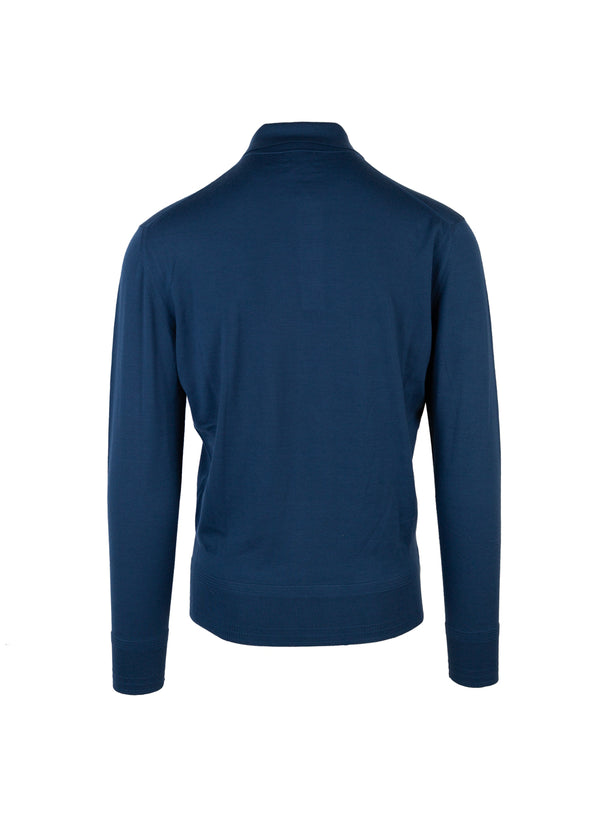 Tom Ford Mens Blue Merino Wool Polo - ACCESSX