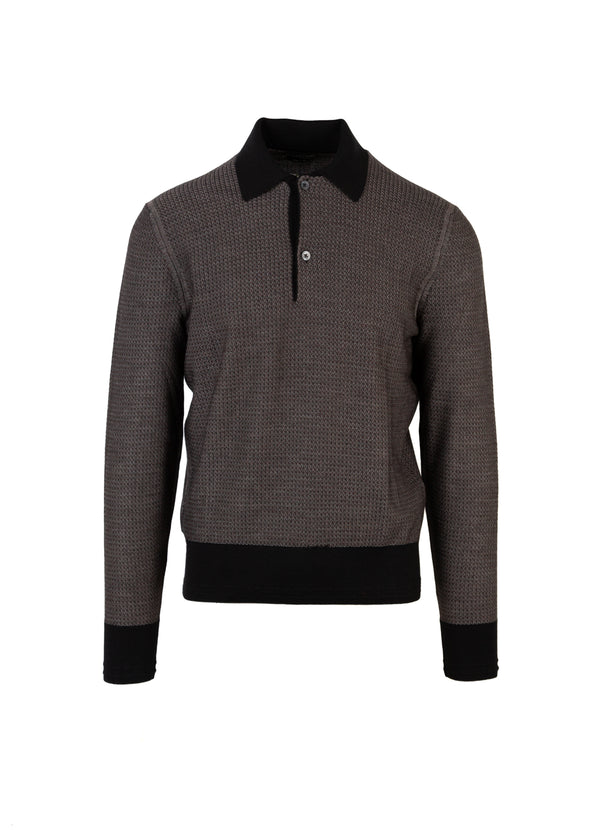 Tom Ford Mens Brown Silk Merino Textured Tricot Polo - Tribeca Fashion House