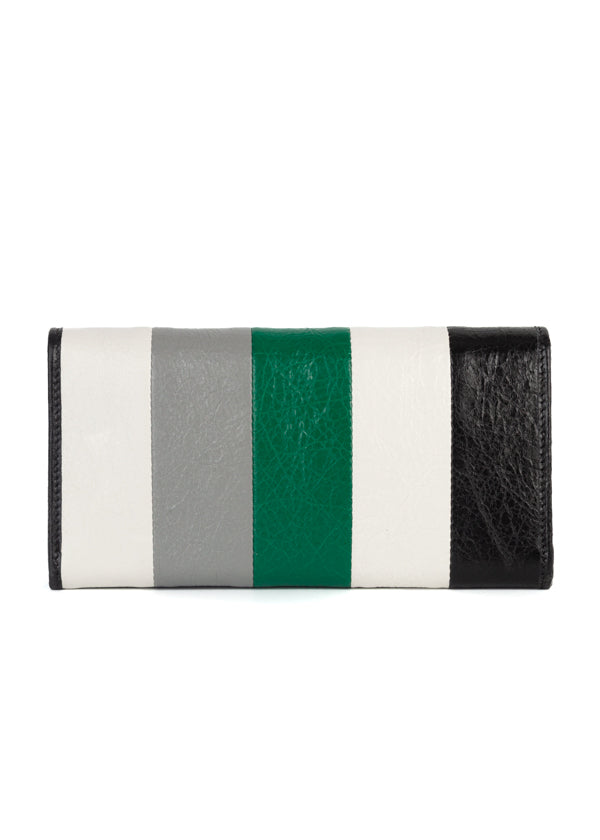 Balenciaga Womens Green Striped Classic Money Wallet - ACCESSX