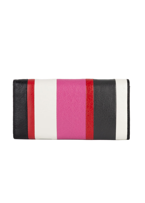 Balenciaga Womens Pink Striped Classic Money Wallet - Tribeca Fashion House