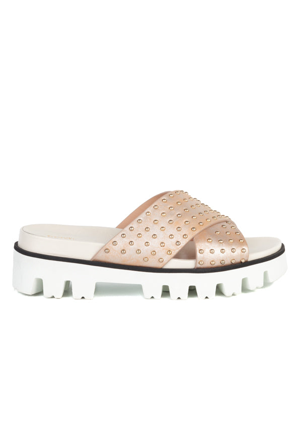 Red Valentino Womens Gold Studded Slides - ACCESSX