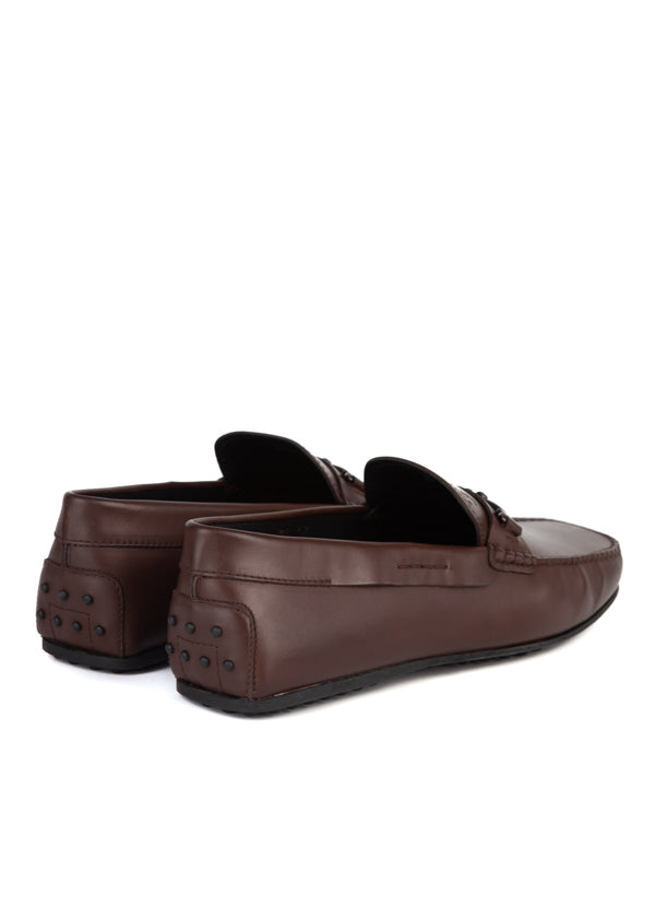 Tod's Mens Dark Brown Leather Driving Shoes - ACCESSX