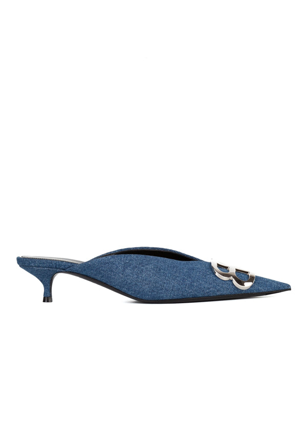 Balenciaga Womens Blue Denim BB Mules - ACCESSX