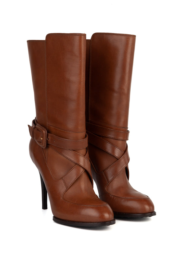 Tod's Womens Brown Leather Ankle Boots - ACCESSX