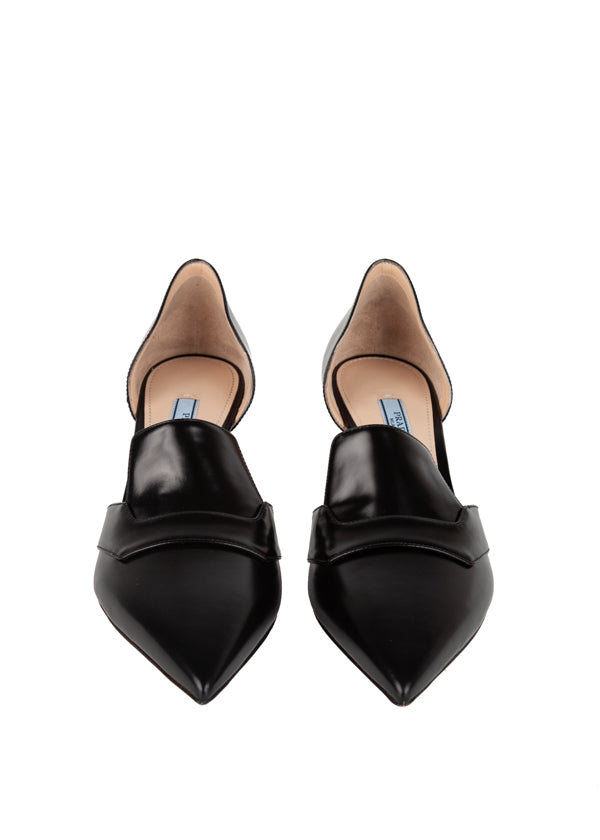 Prada Womens Black Leather Pointy Toe Pumps - ACCESSX