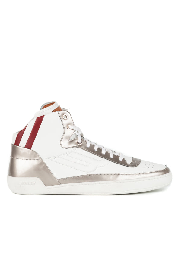 Bally Mens Silver Ethyx High-Top Sneakers - Tribeca Fashion House